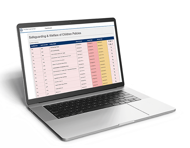 Chapter & Verse displays your policy and procedure documents in a traffic light styled status list, which enables you to quickly see which document requires immediate attention